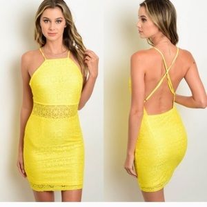 Dresses & Skirts - Yellow Lace Dress